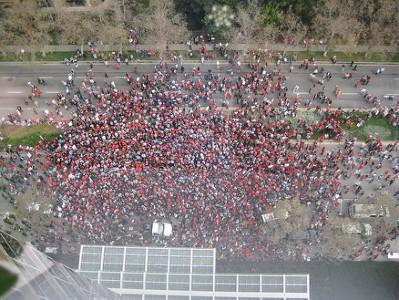 Birds eye view of strikers
