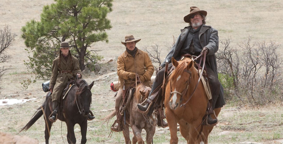 Hailee Steinfeld and Matt Damon and Jeff Bridges in True Grit