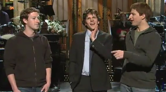 Facebook founder Mark Zuckerberg appeared on Saturday Night Live last night