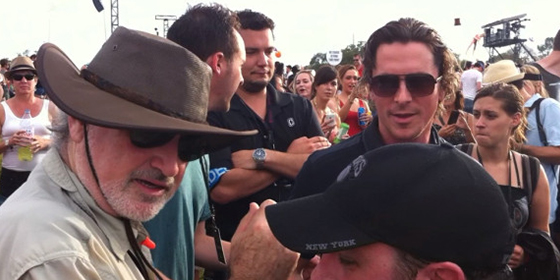 Terrence Malick and Christian Bale filming in Austin
