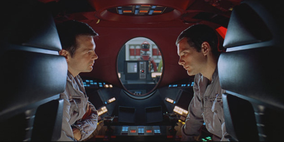 HAL watches the astronauts through the glass in 2001 A Space Odyssey