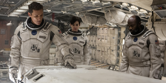 Matthew McConaughey Anne Hathaway and David Gyasi in Interstellar