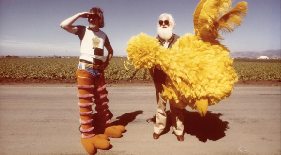 Carrol Spinney and Kermit Love take a break from filming the Muppet Movie in 1978